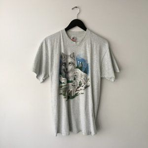 Vintage Gray Wolf Graphic Tee Shirt Animal Large L
